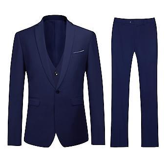Allthemen menn slank klassisk stil levende Marine bryllup Business middag 3-brikke sort Blazer Vest bukse