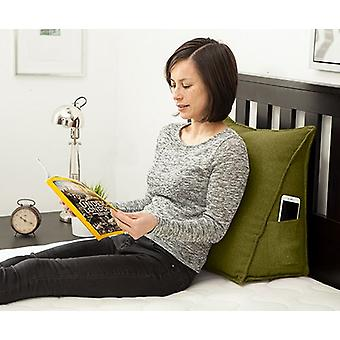 Olive Soft Wool Bean Bag Bed Wedge Back Support Cushion