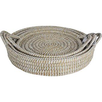 Kans Round Grass Trays With Handle (Set Of 3)