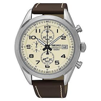 Seiko mens Chronograph Quartz Watch med läderrem (modell nr. SSB273P1)