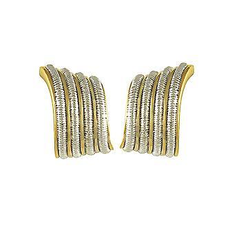 Eterna colección Swish clásico dos tono oro Stud Clip en pendientes