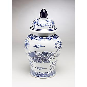 AA importeren 59828 18 Inch blauw en wit gember pot met deksel