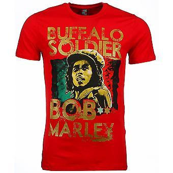 T-shirt-Bob Marley Buffalo Soldier Print-Red