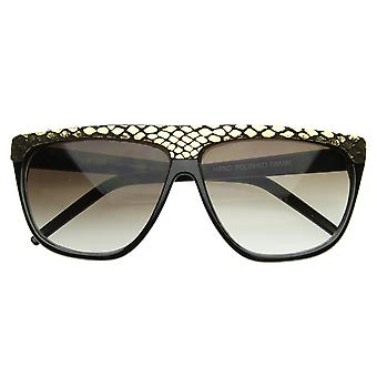 Trendy Fashion Urban Flat Top Vintage Shiny Snakeskin Horn Rimmed Sunglasses