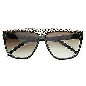 Trendige Mode Urban Flat Top Vintage glänzendem Schlangenleder Horn umrandeten Sonnenbrillen