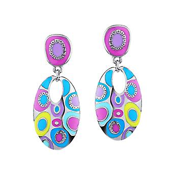 Platinum Plated Spring Multicolor Stellux Austrian Crystals Earrings, 5.7cm