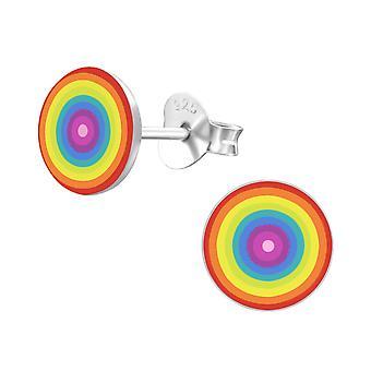 Rainbow - 925 Sterling Silver Colourful Ear Studs - W19699X