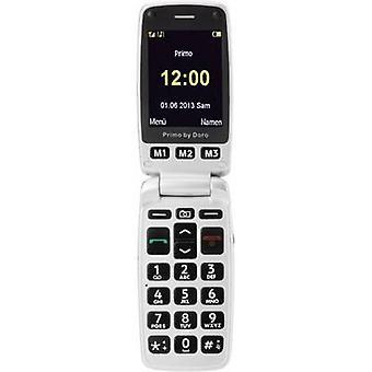 Primo por DORO 413 botón grande flip top teléfono móvil estación de carga, botón de pánico plata