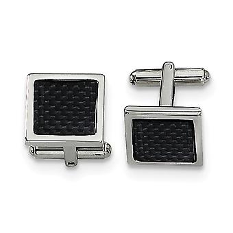 Stainless Steel Polished Carbon Fiber Cuff Links