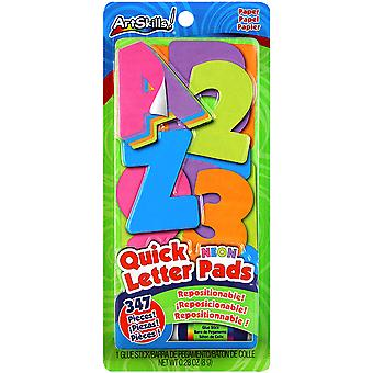 Quick Letter Number Pads Repositionable With Glue Stick Neon Colors, 247 Pieces Pa1225