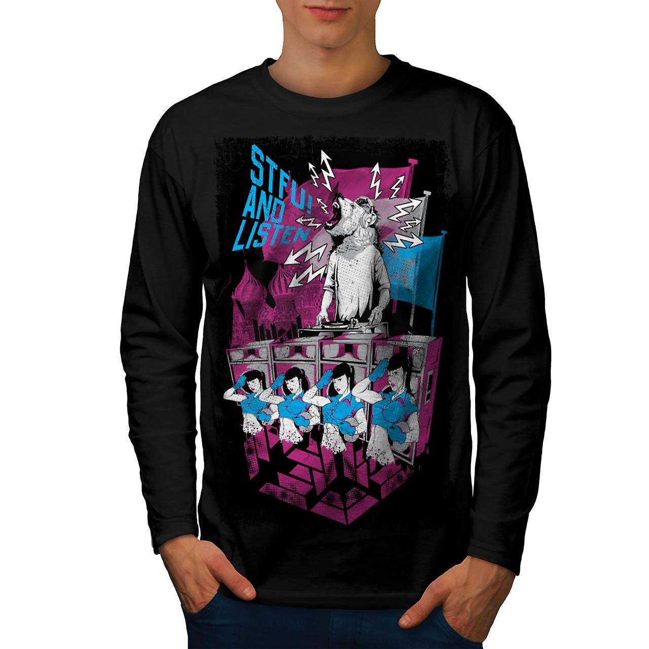 DJ Music Brown Bear Dance Rave Men Black Long Sleeve T-shirt | Wellcoda