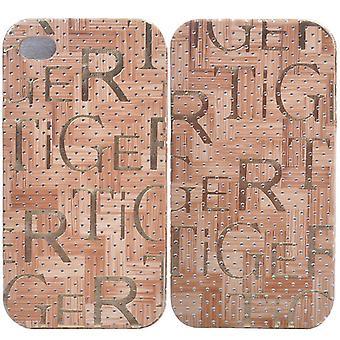 Flip-Leder-Cover mit Texten auf iPhone 4/4 s (braun)