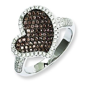 Sterling Silver and CZ Brilliant Embers Heart Ring - Ring Size: 6 to 8