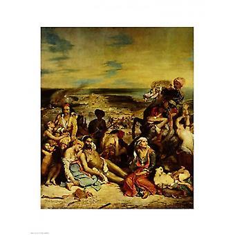 Scene dal massacro di Chios 1822 stampa del manifesto di Eugene Delacroix