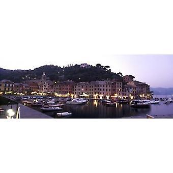 Boats at a harbor Portofino Genoa Liguria Italy Poster Print