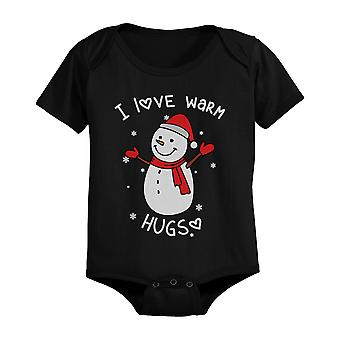 I Love Warm Hugs Snowman Cute Christmas Black Baby Onesie Gifts