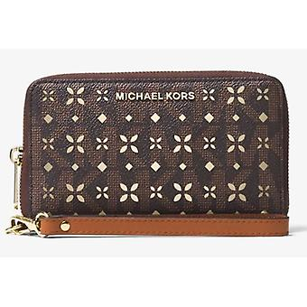 Michael Kors Jet Set Travel Perforated Logo Phone Case - Vanilla Logo/Gold - Brown - 32T6GTVE9U-200
