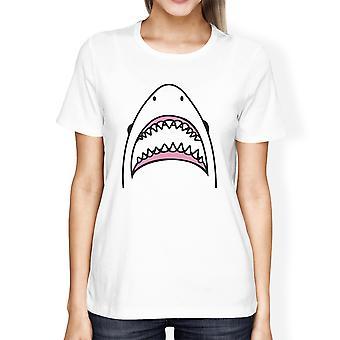 Shark Womens White Graphic T-Shirt Lightweight Summer Cotton Tee