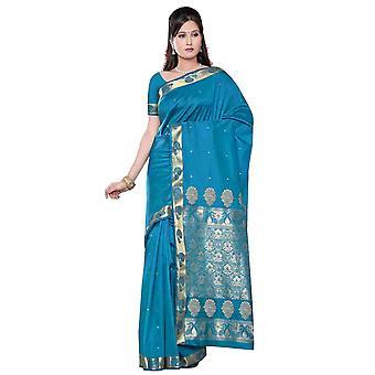 Turchese - Sari di seta di arte di Benares / Saree/Bellydance tessuto (India)