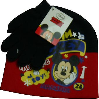 Boys Disney Mickey Mouse Winter Beanie Hat & Gloves Set