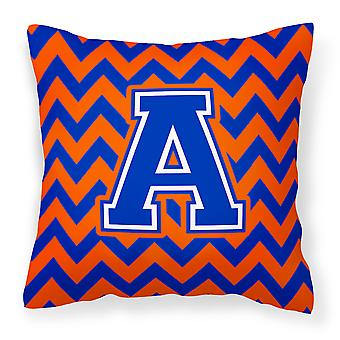 Letter A Chevron Orange and Blue Fabric Decorative Pillow