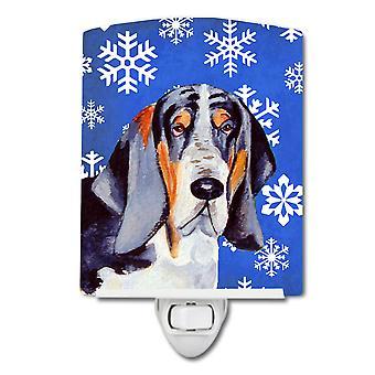 Basset Hound Winter Schneeflocken Urlaub Keramik Nachtlicht