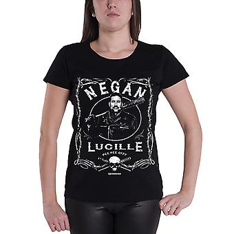 The Walking Dead T Shirt Negan Label Logo Official Womens New Black Skinny Fit