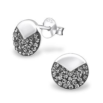 Circle - 925 Sterling Silver Crystal Ear Studs