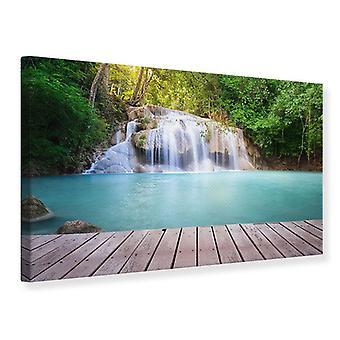 Canvas Print terras bij de waterval