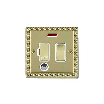Hamilton Litestat Cheriton Georgian Polished Brass 13A DP Fuse SP+N+CO PB/WH