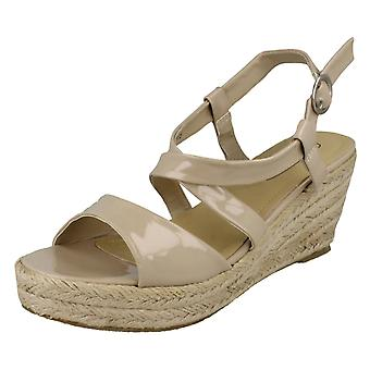 Ladies Spot On Cross Strap Wedge Sandals