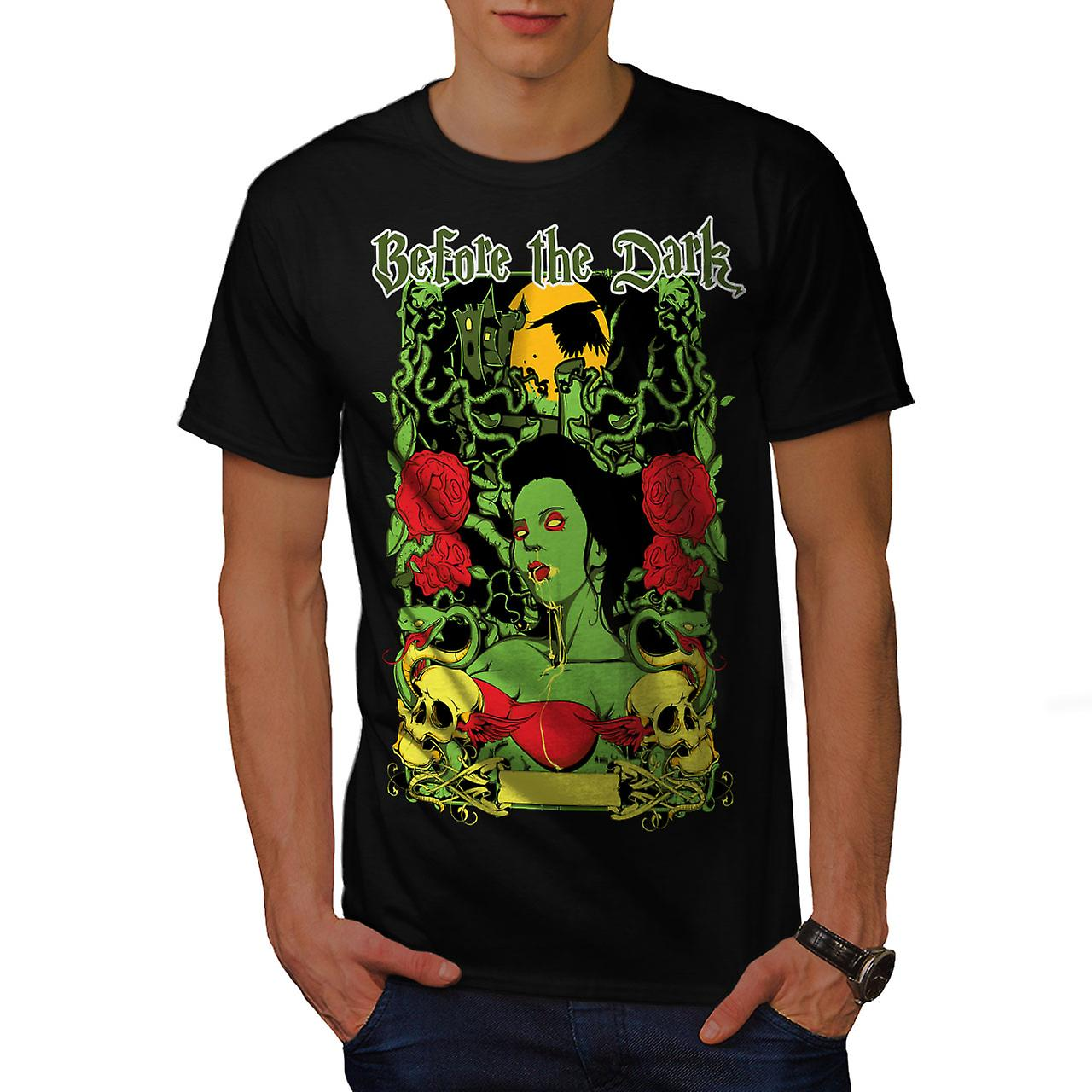 Before Dark Rose Zombie Men Black T-shirt | Wellcoda