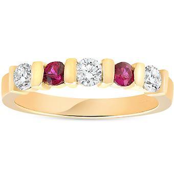 1 / 2ct Ruby y aniversario de bodas de diamante 14K anillo de oro