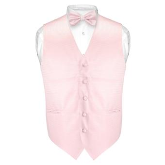 Men's Dress Vest & BOWTie Horizontal Striped BOW Tie Woven Design Set