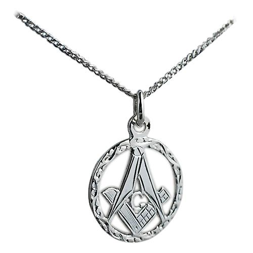 Silver 18mm engraved Masonic emblem in a circle with G on a Curb chain