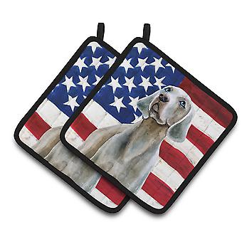 Carolines Treasures  BB9674PTHD Weimaraner Patriotic Pair of Pot Holders