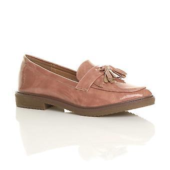 Ajvani womens flat low heel fringe tassel moccasins loafers smart shoes