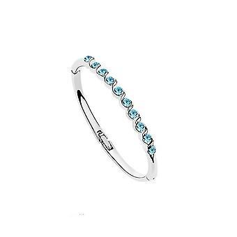 Women Ladies Silver Blue Crystal Elements Christmas Bangle Bracelet