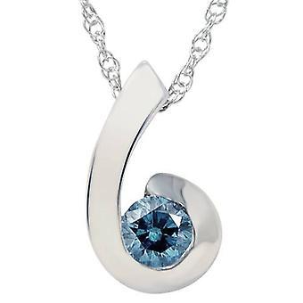 1/4ct Blue Diamond Solitaire Pendant 14K White Gold