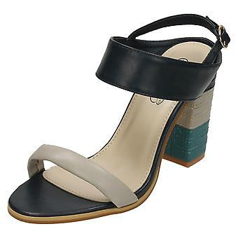 Damen Fleck auf High Heel Mule Sandalen F10705 genäht