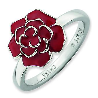 Sterling Silver Enamel Polished Rhodium-plated Stackable Expressions Rose Ring - Ring Size: 5 to 10