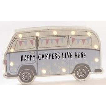 Happy Camper LED Standing Plaque - Blue