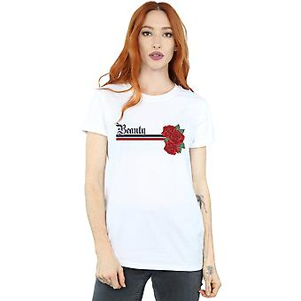 Disney Princess Women's Beauty and the Beast Belle Stripes and Roses Boyfriend Fit T-Shirt