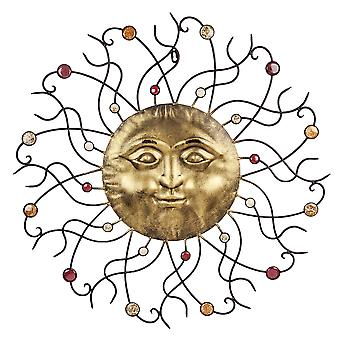 Large Golden Sun Design Metal Garden or Home Wall Art with Coloured Stones