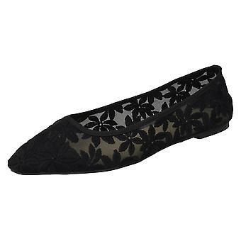 Ladies Spot On Flowery Ballerinas F80389 - Black Textile Fabric - UK Size 4 - EU Size 37 - US Size 6