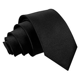 Black Plain Satin Slim Tie