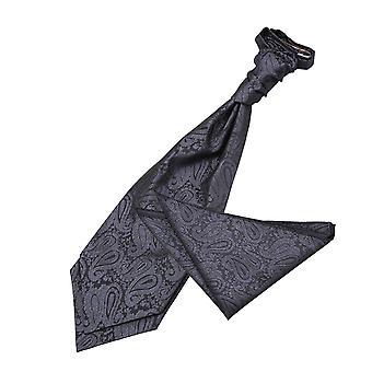 Houtskool grijs Paisley bruiloft Cravat & zak plein Set