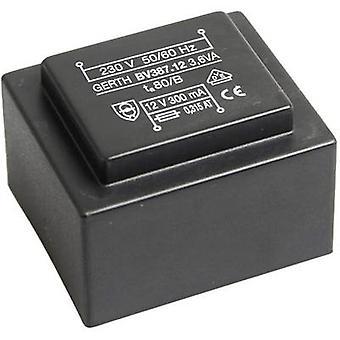 PCB mount transformer 1 x 230 V 1 x 15 V AC 3.60 VA 240 mA PTG381501 Gerth
