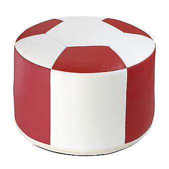 Football cushion synthetic leather white / red Ø 50/34 cm