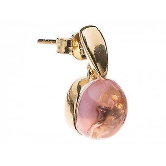 Ohrschmuck Damen - Ohrringe - 925 Silber Vergoldet - Rosenquarz - Rosa - 2 cm